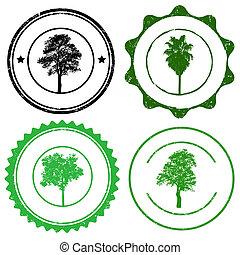 jogo, marcas, selo, árvore