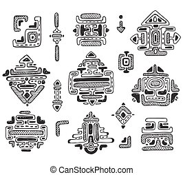 jogo, maya, ornamento, mão, vetorial, desenhado