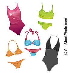 jogo, meninas, swimsuits