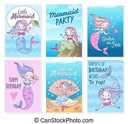 jogo, modelo, princesas, vetorial, criativo, scrapbook, partido, mítico, cartões., cute, criaturas, cartão postal, aniversário, sereia, mar, convites