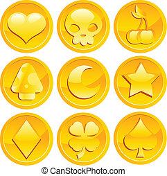 jogo, moedas, ouro