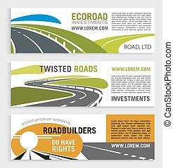 jogo, motorway, vetorial, estrada, bandeiras, ou, rodovia