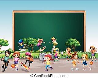 jogo, muitos, quadro, parque, desenho, fundo, crianças