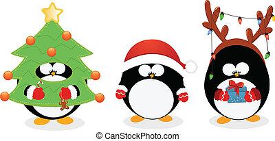 jogo, natal, pingüim