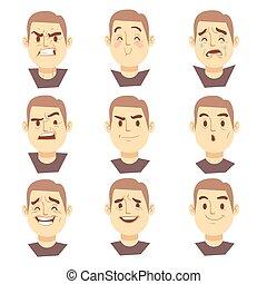 jogo, negócio, emoções, vetorial, caráteres, caras, caricatura, homem