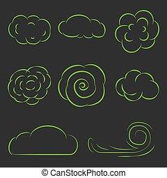 jogo, nuvens, ícones, ilustração, vetorial, linha