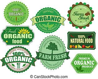 jogo, orgânica, fazenda, etiquetas, alimento, fresco, emblemas
