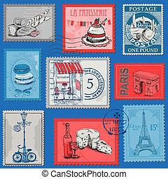 jogo, paris, vindima, -, frança, selos, vetorial, desenho, scrapbook