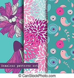 jogo, pattern., seamless, theme., três, flores, pássaros