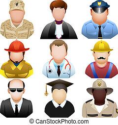jogo, pessoas, ícone, uniforme