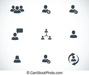 jogo, pessoas escritório, ícones, vetorial, pretas