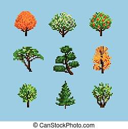 jogo, pixel, árvores
