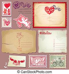 jogo, poste, vindima, valentines, selos, postais, dia, design.