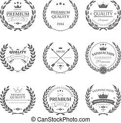 jogo, prêmio, etiquetas, vetorial, qualidade, emblemas