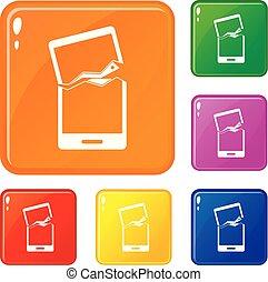jogo, quebrada, cor, ícones, telefone, vetorial