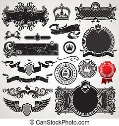 jogo, real, vetorial, ornate, bordas, elementos