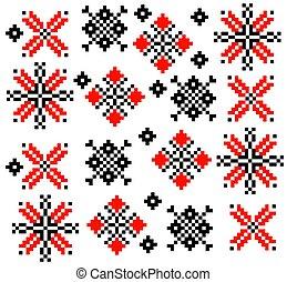jogo, romanian, ornamento, cobrança, vetorial, étnico, padrão, moldovan