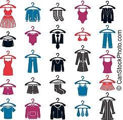 jogo, roupas, vetorial, cobrança, ícone