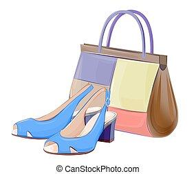 jogo, sapatos, bolsas