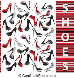 jogo, sapatos, femininas