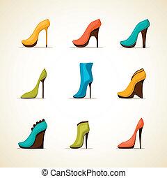 jogo, sapatos mulheres