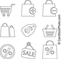 jogo, shopping, ícones, ilustração, vetorial, linha