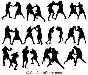 jogo, silueta, boxe