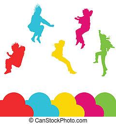 jogo, silueta, crianças, pular, meninas, vetorial, fundo