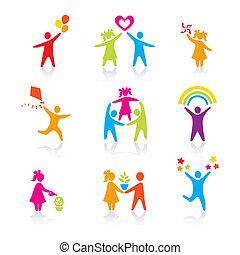 jogo, silueta, pessoas, criança, homem, ícones, -, símbolo., menino, mulher, menina, pais, pai, vector., family., mãe, criança