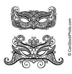 jogo, silueta, renda, máscara carnaval, dois, veneziano, pretas, lineart