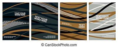 jogo, simples, abstratos, ou, coberturas, onda, fundos, amarela, pretas, colors., modelo, cartazes, verde, branca, design., linha, 4