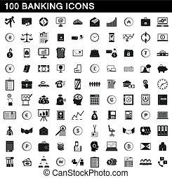 jogo, simples, estilo, operação bancária, ícones, 100