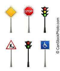 jogo, sinais estrada