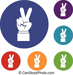 jogo, sinal, vitória, mão, ícones