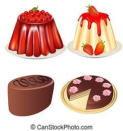 jogo, sobremesa, geléia, morangos, bolo cereja