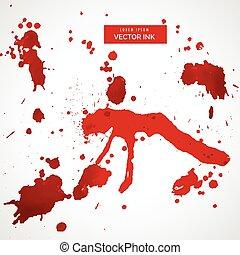 jogo, splatter, vetorial, sangue, mancha, vermelho