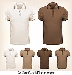 jogo, t-shirts., coloridos, homens, ilustração, vetorial, desenho, retro, template.