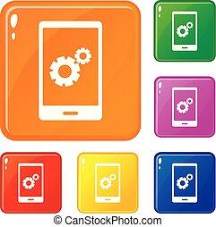 jogo, trabalhando, ícones, cor, telefone, vetorial