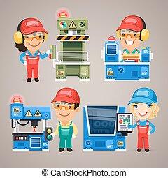 jogo, trabalhando, trabalhadores, fábrica, caricatura, máquinas