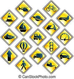 jogo, transporte, 17, amarela, tráfego, ícone