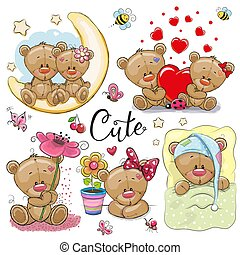 jogo, urso teddy, fundo, branca, caricatura