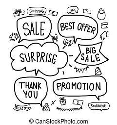 jogo, venda, vetorial, palavra, ilustração, bolha