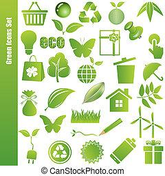 jogo, verde, ícones