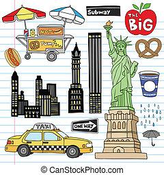 jogo, vetorial, cidade, york, doodles, novo