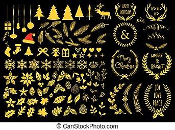 jogo, vetorial, elementos, natal, desenho, ouro