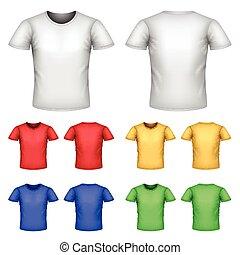 jogo, vetorial, macho, coloridos, camisetas