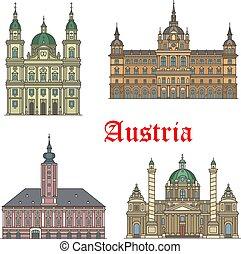jogo, viagem, arquitetura, austríaco, marcos, ícone