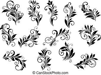 jogo, vignettes, foliate, retro, arabescos, floral