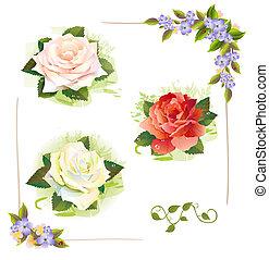jogo, vindima, aquarela, roses., imitação, painting., style.