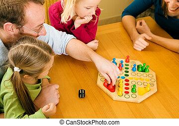 jogos, tocando, família